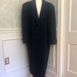 Long dark blue Liz Claiborne trench coat